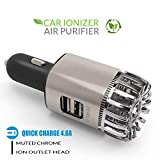 ZERLA Car Air Purifier, Car Air Freshener and 2-in-1 Ionic Air Purifier / 4.8A Metal Dual USB Ports - Remove Dust, Pollen, Smoke and Bad Odors