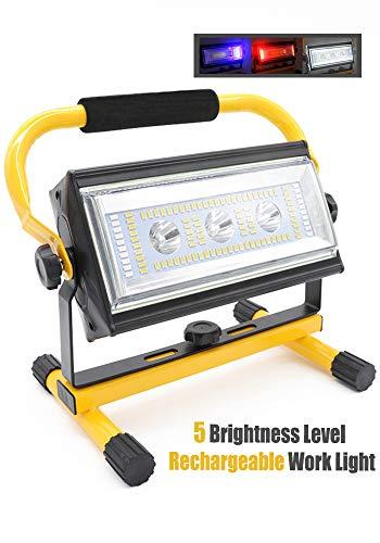 Led Baustrahler Akku Strahler - 80W Baulampe Arbeitsleuchte mit 6 Dimmstufen(300~3000 Lumen), Arbeitsleuchte Tragbar, 360° Drehbare Halterung, Außen Beleuchtung für Camping