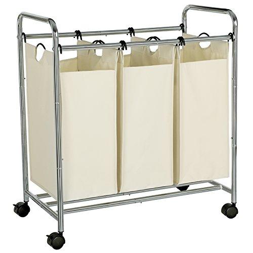 SONGMICS Wäschekorb, Wäschesammler mit 3 abnehmbaren Stofftaschen, Wäschebehälter auf Rollen, Wäschesortierer, stabil, 3 x 44 Liter, Beige LSF003S
