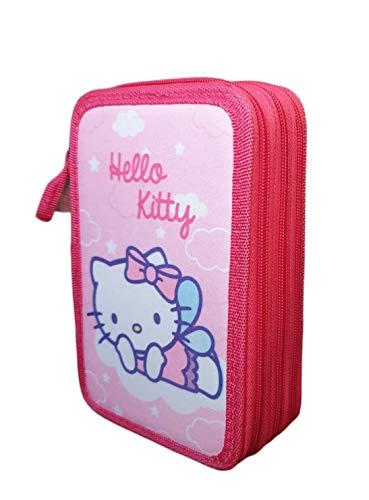 Astucci per Lapces Hello Kitty, triplo con tre cerniere, astuccio scolastico con Hello Kitty, grande capacit per la scuola a tre scomparti.