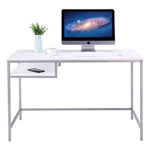 FIVEGIVEN White Modern Computer Desk Simple Writing Study Desk with Shelf Underneath, 48 Inch