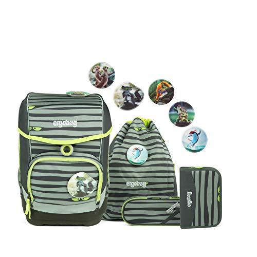 Ergobag cubo Super NinBär, ergonomischer Schulrucksack, Set 5-teilig, 19 Liter, 1.100 g, grün