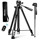 UBeesize 72-inch Camera Tripod, MT72 Aluminum Monopod Tripod Combo, Lightweight Professional Travel Video Camera Stand with Carry Bag for DSLR, SLR, Cell Phone