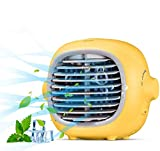 Evaporative Portable Cooler Fan Portable Air Conditioner Fan Air Cooler Personal Space Cooling Fan Mist Humidifiers Quiet Desk Fan with USB Recharged (Yellow)