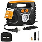 Kensun AC/DC Power Supply Portable Air Compressor Pump with Analog Display to 100 PSI for Home (110V) and Car (12V), Tire Inflator with Adaptors for Cars, Trucks, Bicycles, Balls