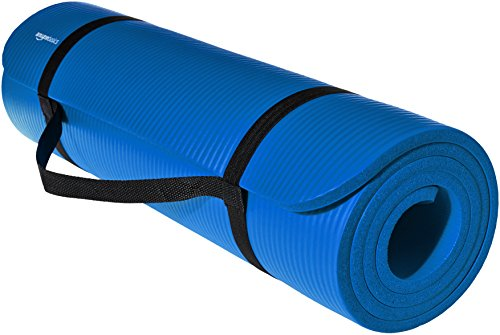 AmazonBasics 13mm Extra Thick Yoga and Exercise Mat with Carrying Strap, Green