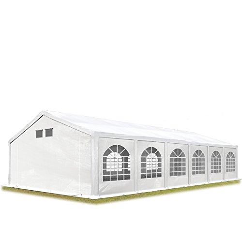 TOOLPORT Partyzelt Festzelt 6x12 m in weiß Professional 300 g/m² PE Plane Wasserdicht UV Schutz mit BODENRAHMEN Gartenzelt