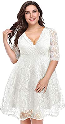 【Wedding Lace Dress】Our plus white lace dress surprise our customers with its elegant, sexy and modest style. It is a knee-length dress style with good breathability and drape, will be great as a bridal shower short dress. 【Floral Lace Dress】This plu...