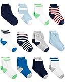 Simple Joys by Carter's Boys' 12-Pack Socks, Blue/White/Grey, 3-12 Months