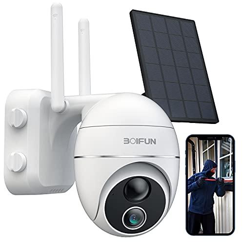 360° PTZ Telecamera WIFI Esterno a Batteria Senza Fili, BOIFUN Videocamera Sorveglianza Pannello Solare con 15000 mAh Batteria, 1080P, Rilevamento del Movimento Umano, Audio Bidirezionale