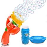 ArtCreativity Double Bubble Blower Fan - Battery-Operated Bubbles Blaster - 4oz Solution and Dipping Tray Included - Fun Bubble Blowing Shooter for Boys and Girls, Great Outdoor Summer Game - Orange