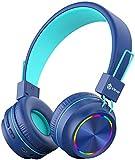 iClever Bluetooth Kinder Kopfhörer, Bunte Lichter LED, 85dB Lautstärkebegrenzung, Faltbare, Einstellbar, Kabellos und Kabel, Eingebautes Mikrofon für PC, Tablet, Kindle