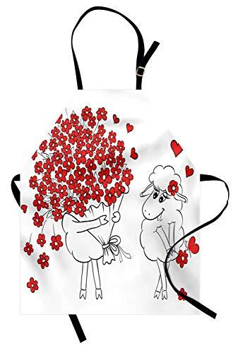 ABAKUHAUS San Valentino Grembiule, Lover Capre Cuori, Prodotto Unisex con Collo Regolabile per Cucinare e Giardinaggio, Rosso Bianco