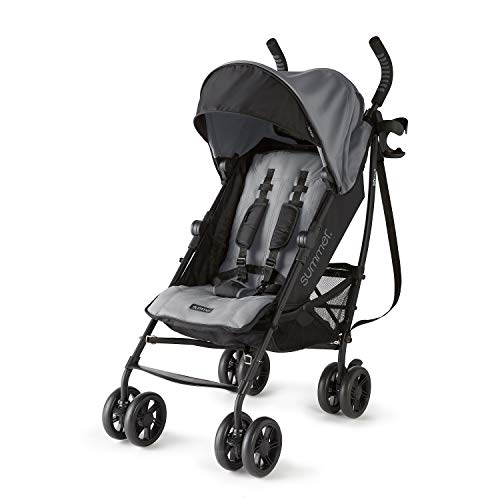 Summer 3Dlite+ Convenience Stroller, Matte Gray  Lightweight Umbrella Stroller with Oversized Canopy, Extra-Large Storage and Compact Fold