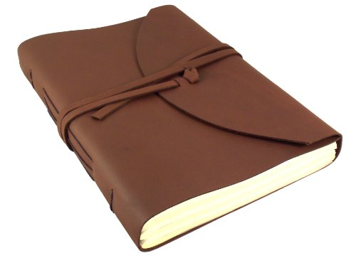 """Large Genuine Leather Legacy Journal/Sketchbook with Gift Box - 400 Pages - 9"""" x 12"""" - Rich Dark Brown"""