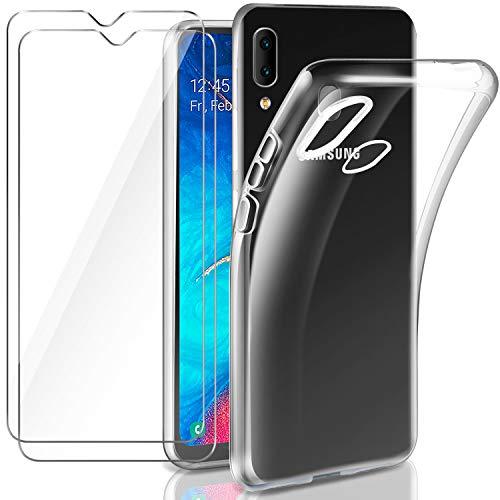 Leathlux Cover Samsung Galaxy A20e Custodia Trasparente + 2 × Pellicola Vetro Temperato Galaxy A20e, Morbido Silicone Custodie Protettivo TPU Gel Sottile Cover per Samsung Galaxy A20e 5.8'