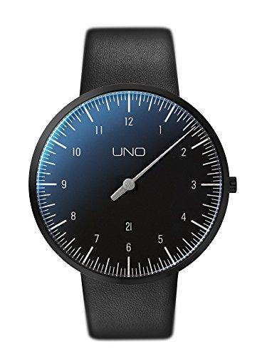 Botta-Design UNO Plus Herren-Einzeigeruhr Analog Schweizer Quarzwerk mit Lederarmband 710000 … (44 mm, Black Edition)