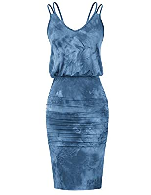 Tie-dye design makes this sleeveless v-neck pencil dress looks unique,elastic waist will convenient for you to take off and put on Tank tops combined with pleated skirt will creates beautiful sexy leg shape,makes you more sexy and attractive Occasion...