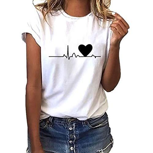 Camiseta de Mujer,Manga Corta Corazón Impresión Blusa Camisa Cuello Redondo Basica Camiseta Suelto Verano Tops Casual Fiesta T-Shirt Original tee vpass