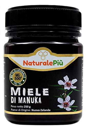 Miele di Manuka 500+ MGO 250 gr. Prodotto in Nuova Zelanda, Attivo e Grezzo, Puro e Naturale al 100%. Metilgliossale Testato.
