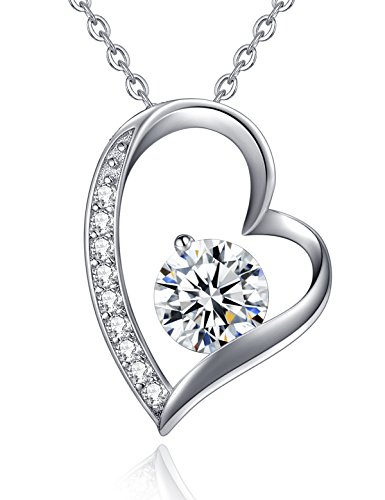 You Are The One White Gold Plated Love Heart Pendant Necklace CZ Sterling Silver Necklaces for Women Valentine's Day Gifts Anniversary Gifts for Her Birthday Gifts for Wife Girlfriend Girls
