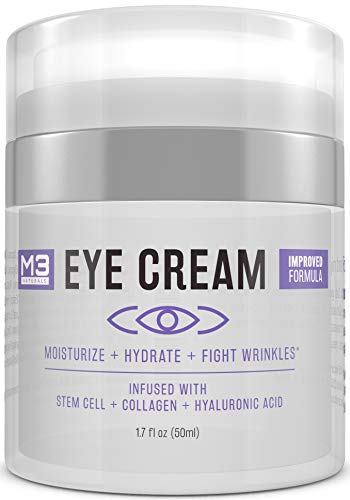 M3 Naturals Eye Cream Infused with Collagen Stem Cell and Hyaluronic Acid for Puffiness, Wrinkles, Dark Circles Under Eye, Bags, Fine Lines - Helps Anti-Aging, Healthy Skin Care Moisturizer 1.7 fl