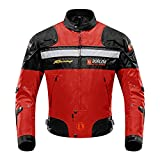 Motorcycle Jacket Motorbike Riding Jacket Windproof Motorcycle Full Body Protective Gear Armor Autumn Winter Moto Clothing (Red,XL)
