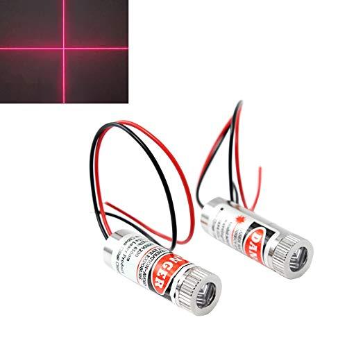WayinTop 2pcs 650nm Croce Rossa Laser Modulo con Focus Regolabile Laser Testa 3-5V (Croce Laser)