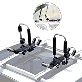 GUDE 2 Pieces J-Bar Kayak Roof Rack Universal Double Folding Kayak Carrier for Canoe Boat, Paddle Board, Surf Ski Roof Top Mount on Car, SUV, Van, Truck Crossbar with 2 Ratchet Lashing Tie-Down Straps