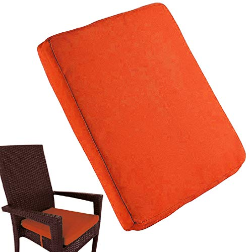 Uheng 6 Pack Patio Outdoor Chair Cushions with Ties, Seat Pads Mat, Waterproof Removable Cover, Comfort Memory Foam Nonslip for Garden Deck Picnic Beach Pool -18' X 18'(Orange)