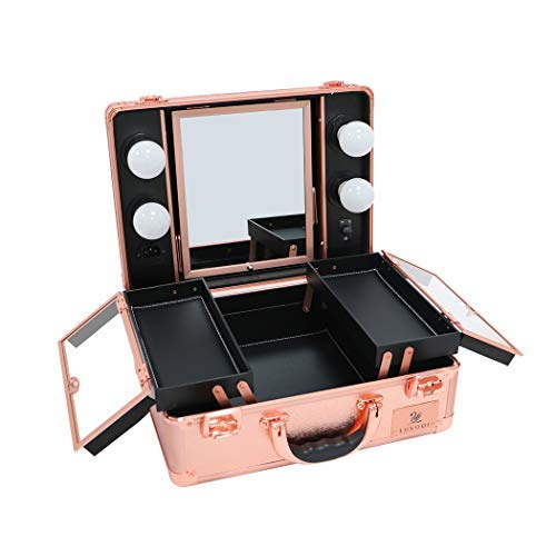 Makeup Case with Dimmable LED Bulbs and Tilt Mirror Lighted Cosmetics Organizer Storage Case Box Travel Beauty Vanity Handle Case w/Customized Divider Trays