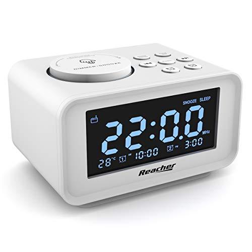 REACHER FM Radiowecker mit USB-Anschlüssen, Dual Alarm mit 6 Weckergeräusche, Anpassbare Helligkeitsregulierung, Sleep-Timer,Thermometer, kleine Größe für Schlafzimmer (weiß)