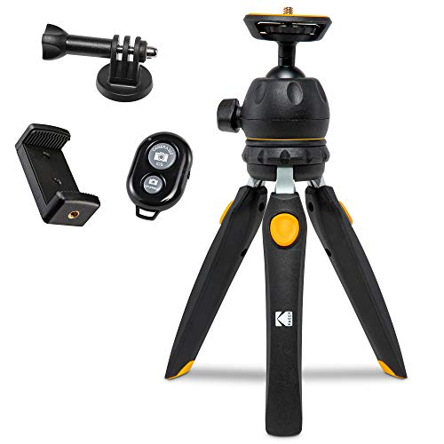 "Kodak Mini Tripod for Luma 75, Luma 150, Luma 350 with 360° Ball Head, Adjustable Compact 9"" Tabletop Tripod, 5-Position Legs, Rubber Feet, Remote Control, Smartphone & Action Camera Adapters Included"