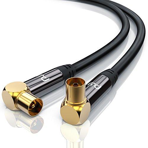 PW - 1,5m 135dB Cavo Antenna maschio femmina a gomito 90 gradi - HD 75 Ohm - Serie Premium - DVB-T und DVB-T2, Radio - Robusto - Resistenza 135dB - Isolamento e schermato a 4 strati - nero