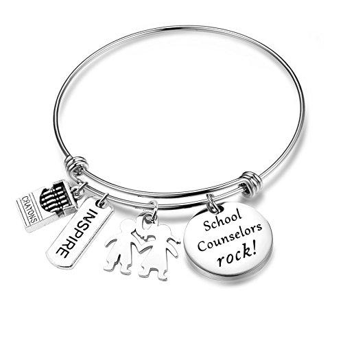 SEIRAA School Counselor Gift Teacher Bracelet End of Year Gift for Teacher Graduation Jewelry Principal Gift (School Counselor Bracelet)