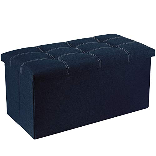 YOUDENOVA 30 inches Storage Ottoman Bench, Foldable Footrest Shoe Bench with 80L Storage Space, End of Bed Storage Seat, Support 350lbs, Linen Fabric Blue