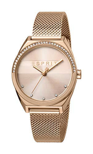 Esprit Damen Analog Quarz Uhr mit Edelstahl Armband ES1L057M0065