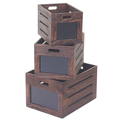 Mendler Serie Vintage Set 3X Cassette Decorative con lavagne Legno HWC-E11 ~ Legno Scuro