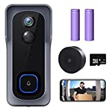 WiFi Video Doorbell Camera, XTU Wireless Doorbell Camera with Chime, 1080P HD, 2-Way Audio, Motion Detection, IP65 Waterproof, No Monthly Fees and 32GB SD Card Pre-installed