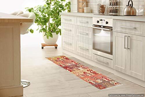 Miss Cucci Passatoia Kilim per Corridoio/Cucina 4- Fatta a Mano 100% Lana Misura 75x185 cm