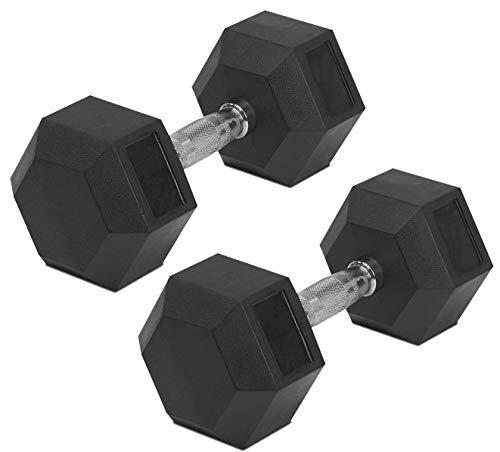 J MARQUE Rubber Coated Professional Hex Dumbbells (2.5 KG x 2 PCS = 5 KG) ; Hex Dumbbells