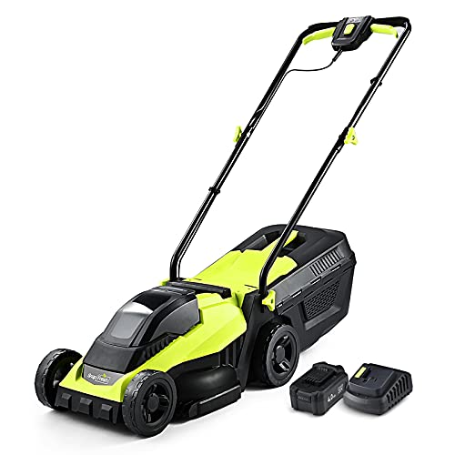 Cordless Lawn Mower, 14 Inch Electric Lawn Mower with Brushless Motor, 20v 4.0ah Battery and Charger, with 2-in-1 Grass Bag, Push Lawn Mower