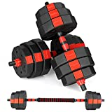 Bronze Times Fitness Dumbbells Set, Adjustable Weight to 44Lbs, Home Fitness Equipment for Men and Women Gym Work Out Exercise Training with Connecting Rod Used as Barbells (Pair)