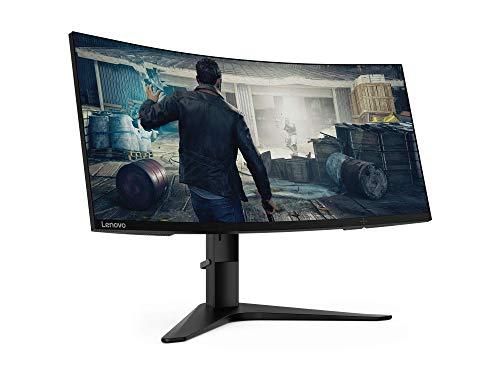 """Lenovo G34w-10 - Monitor Gaming curvo de 34.0"""" WQHD (3440x1440, 21:9, HDMI+DP, FreeSync, 144Hz, 1 ms, 3 lados sin bordes, inclinación y altura ajustable, antirreflejo) - Color Negro"""
