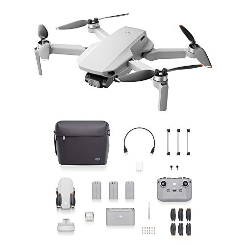 DJI Mini 2 Fly More Combo, Ultraleggero e Pieghevole Drone Quadcopter, 3 Assi Gimbal con Camera 4K, Foto 12MP, 3 Batterie, Stazione di Ricarica, OcuSync 2.0 HD Trasmissione Video, Mavic Mini, Fly App