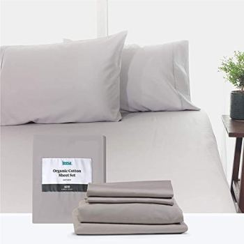 Full Size Bed Sheets Set by Leesa, 100% Cotton Cooling Sateen, Includes Pillowcases and Fitted Sheets, with High Thread Count, Light Grey