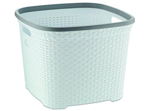 MamboCat Wäschekorb Konrad | quadratisch 45L, 435 x 435 x 335 mm | weiß - grau | PP-Kunststoff geruchlos wasserabweisend | Wäschebox Wäschesammler Korb