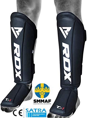RDX MMA Schienbeinschoner für Kampfsport Training | Genehmigt von SMMAF | Maya Hide Leder Muay Thai Schienbeinschutz Spannschützer | Schienbeinschützer für Sparring, Kickboxen, Karate, BJJ (MEHRWEG)