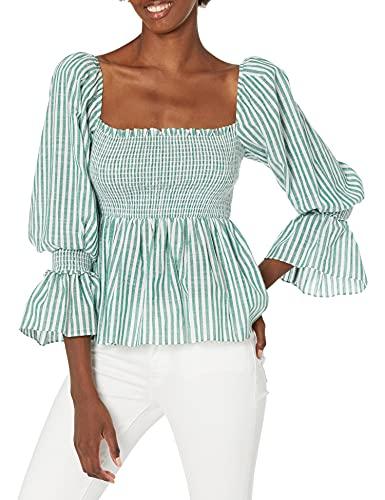 41NKAODYeCS. SL500 Three quarter sleeved top Square neckline Smocked bodice