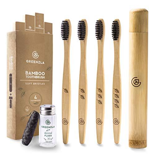 Greenzla Brosse à dents en bambou (paquet de 4) avec étui de voyage pour...